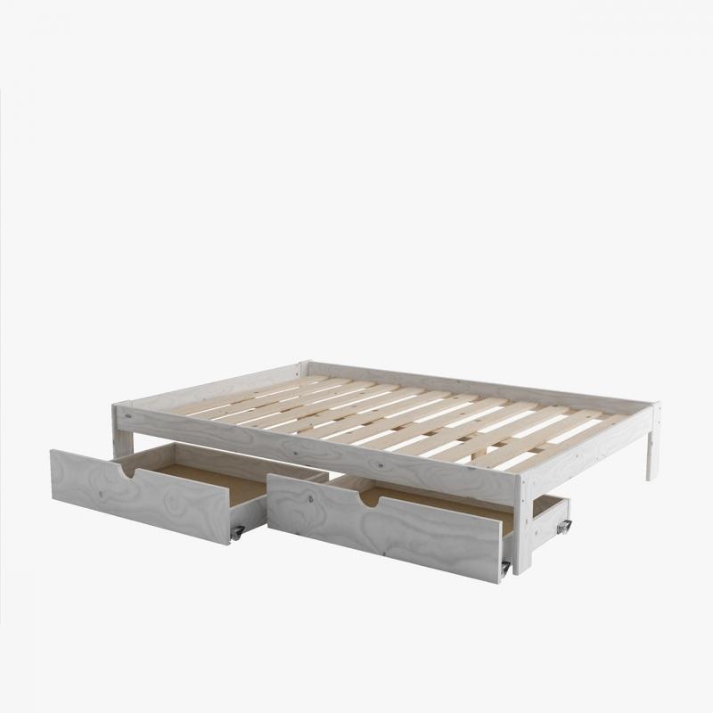 Composition  lit - canapé avec un tiroir blanc nordique