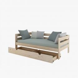 Comprar cama individual barata de madera pulida ecol gica - Muebles lufe catalogo ...