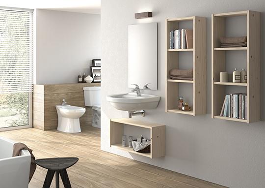 Estantes Para El Baño:Ejemplo de la composicion de un baño con estanterias LUFE