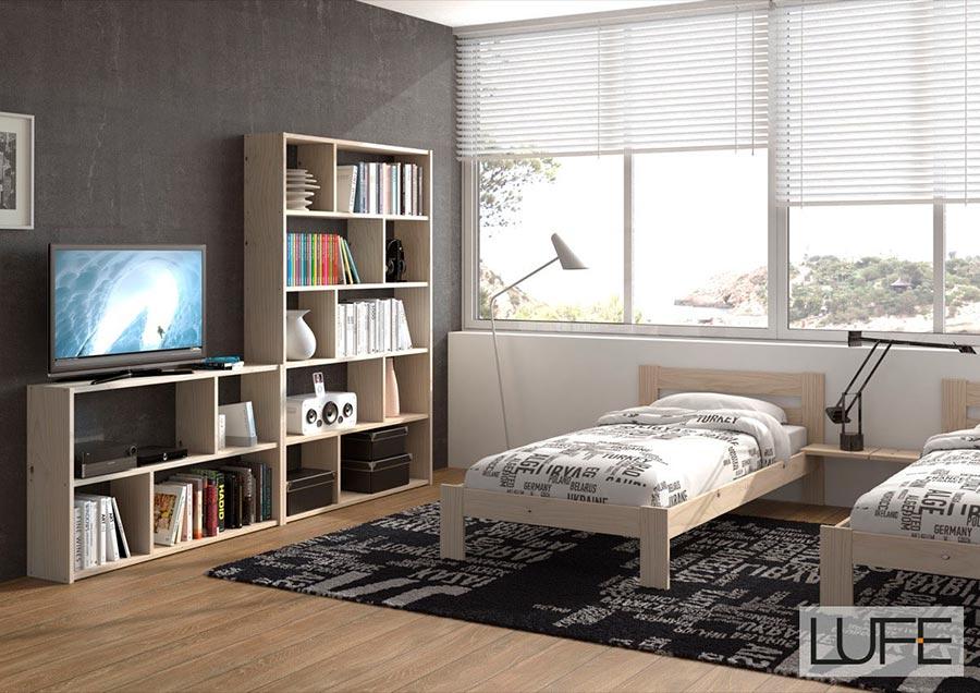 Comprar camas individuales de madera ecol gica pulida - Estructura cama individual ...