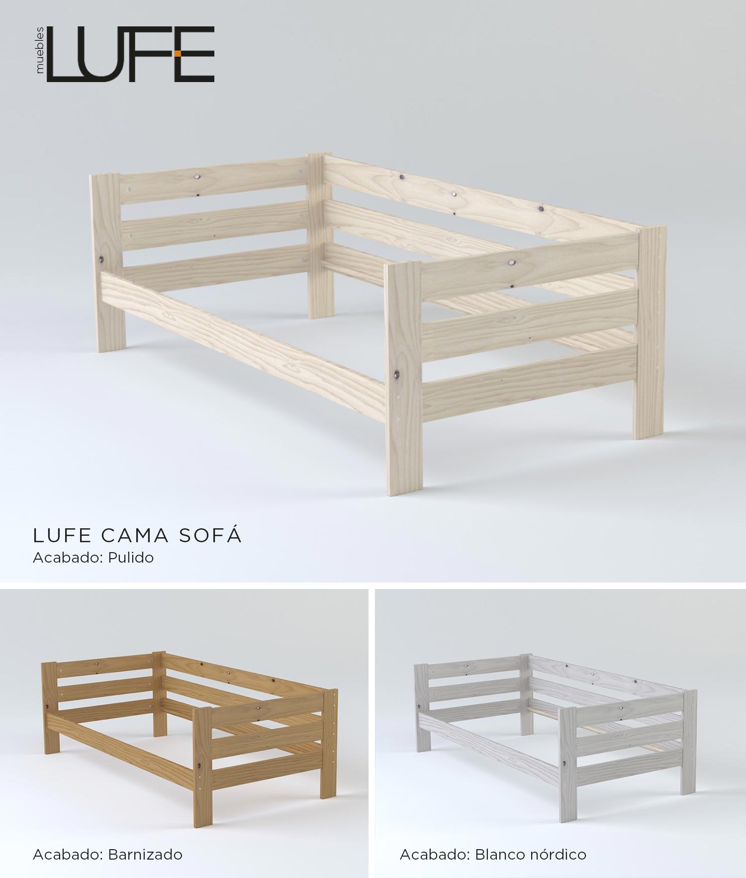 Comprar sof cama barato de madera ecol gica pulida barnizada o blanco n rdico - Muebles nordicos baratos ...