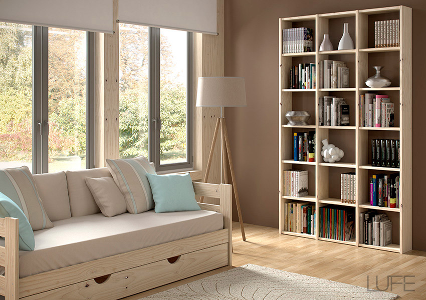 Comprar sof cama barato de madera ecol gica pulida barnizada o blanco n rdico - Estanteria madera maciza ...
