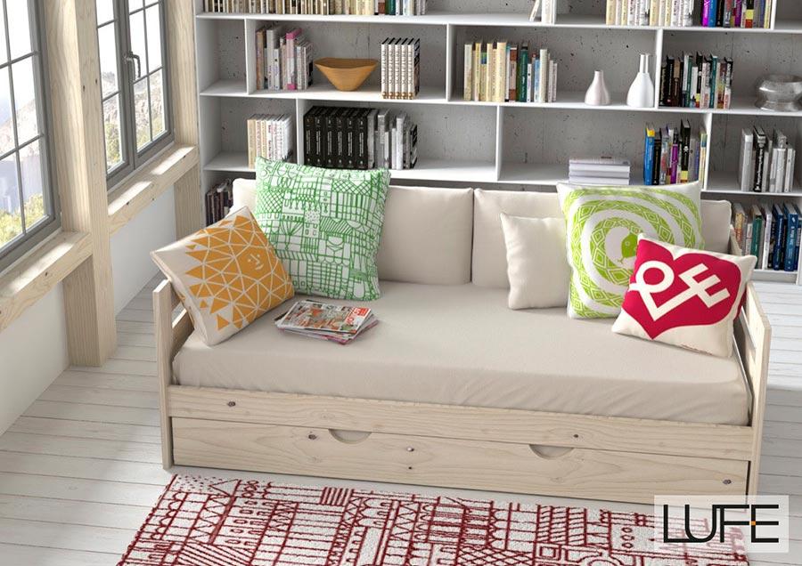 Comprar sof cama barato de madera ecol gica pulida - Sofa cama muebles boom ...