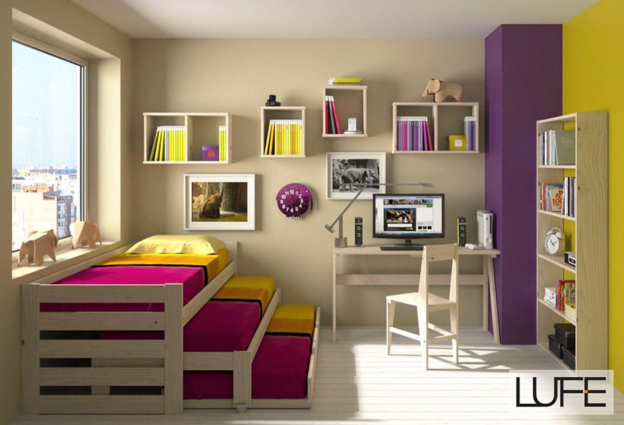 Comprar camas compactas de madera ecol gica pulida for Cama nido de tres camas