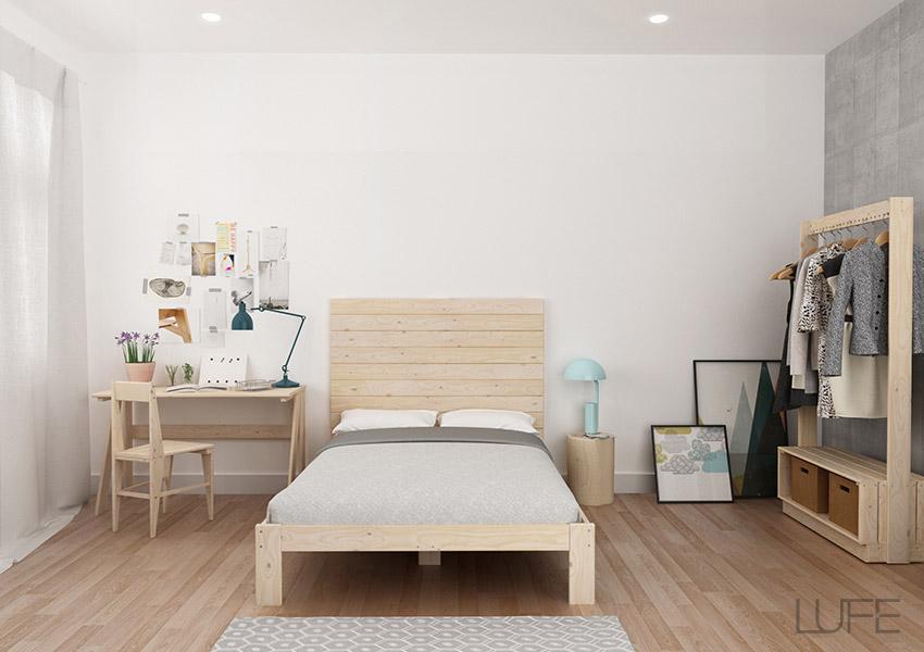 Cabeceros baratos de madera ecol gica para cama individual for Muebles lufe sofa cama