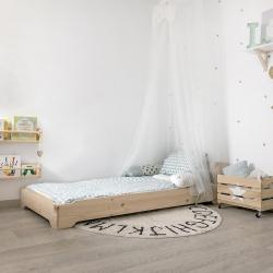 Cama 105 con colchón - Acabado en madera maciza pulida - Muebles LUFE