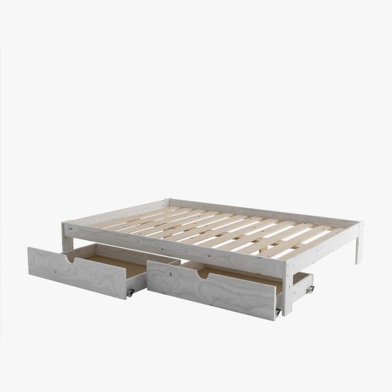 Composici n cama sof con caj n blanco n rdico muebleslufe for Sillon cama con cajones
