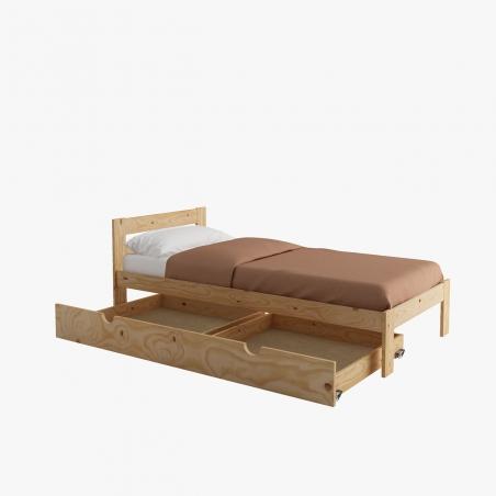 Ambiente cama individual con almohada y mesilla