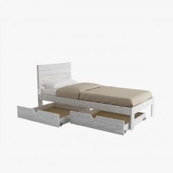 Cama de matrimonio completa y dos cajones - Renueva tu dormitorio con nuestras camas y literas - Muebles LUFE