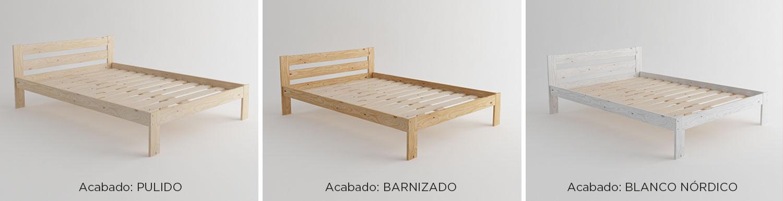 Camas de matrimonio de madera ecol gica pulida barnizada - Somier cama matrimonio ...