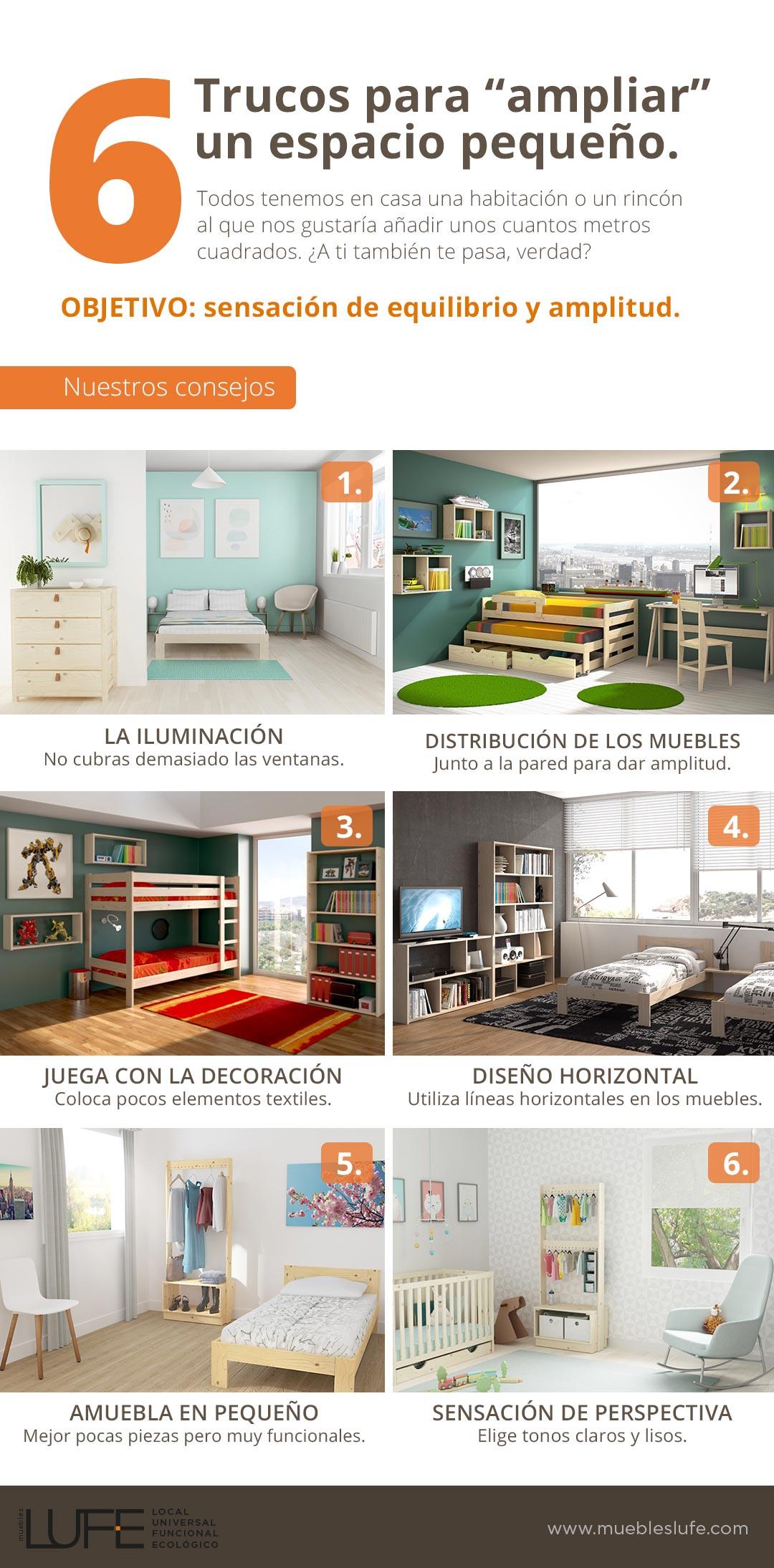 6 Trucos Para Ampliar Un Espacio Peque O Infograf A Blog  # Muebles Equilibrio