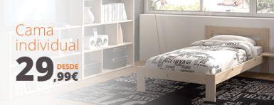 comprar cama individual barata de madera ecologica