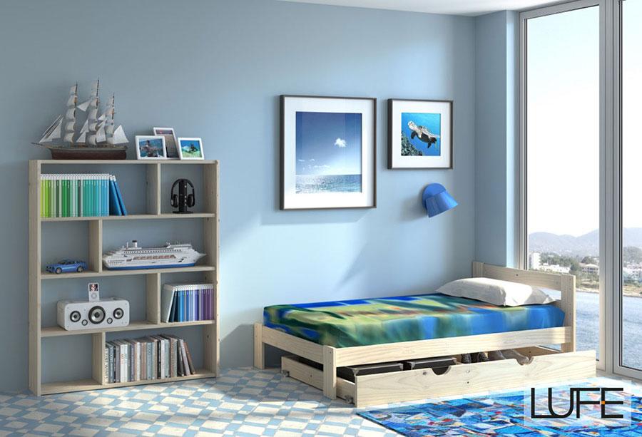 Comprar camas individuales de madera ecol gica pulida for Camas con almacenaje