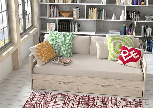 sofá cama con cajón de almacenamiento en la parte inferior