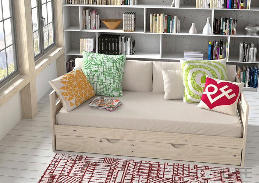 Comprar sof cama barato de madera ecol gica pulida barnizada o blanco n rdico - Muebles lufe catalogo ...