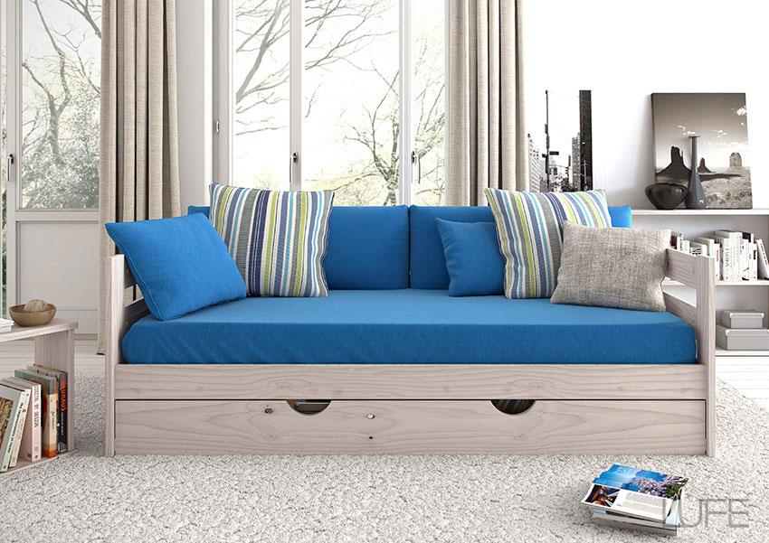Comprar sof cama barato de madera ecol gica pulida for Muebles lufe cama nido