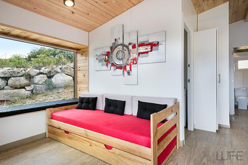 Comprar sof cama barato de madera ecol gica pulida for Sofa cama con cajones