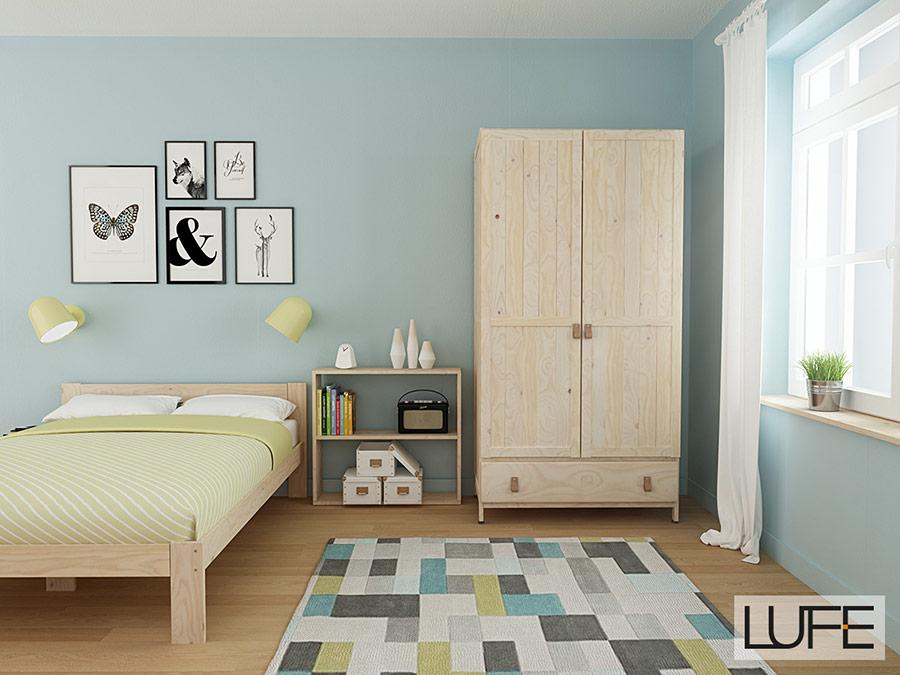 dormitorio juvenil con armario de madera barato