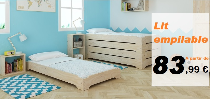 la lufe structure de lit empilable ras le sol blog muebles lufe. Black Bedroom Furniture Sets. Home Design Ideas