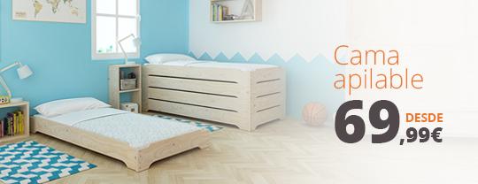 Comprar camas apilables baratas de madera ecol gica for Muebles lufe cama nido