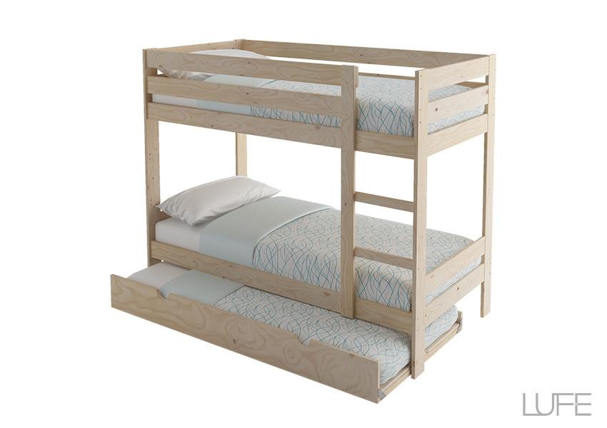 Comprar cama nido de madera ecol gica pulida barnizada o for Cama nido completa