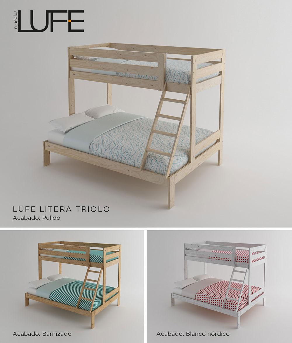 Ver literas de madera doble cama litera de madera doble for Cama matrimonial con cama individual abajo