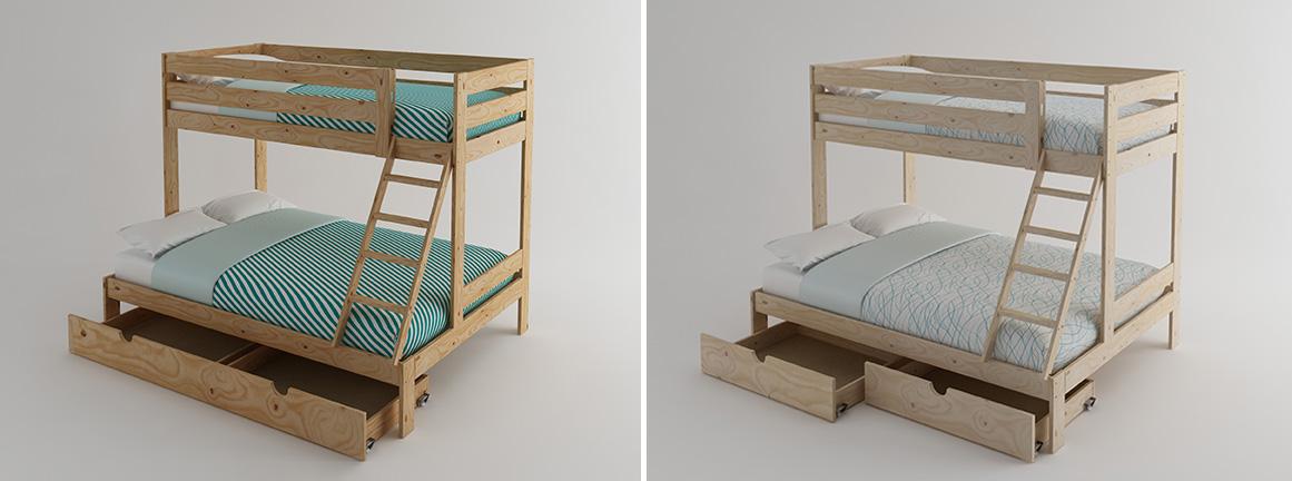 Litera de matrimonio de madera ecol gica pulida barnizada for Cama matrimonial con cama individual abajo