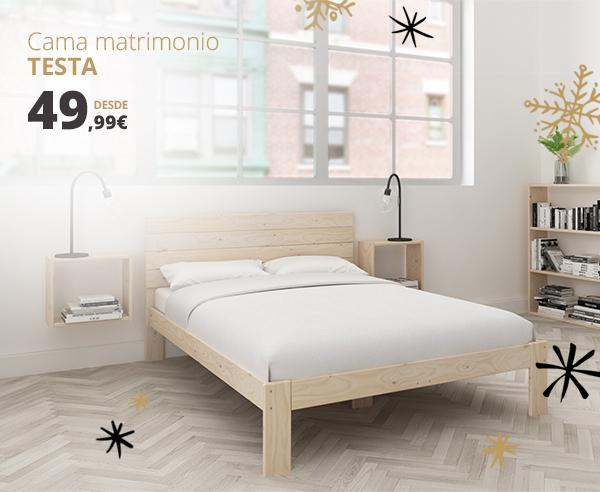 Camas individuales y camas de matrimonio con cabecero de madera ...