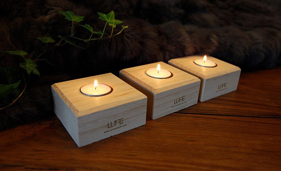 sorteo de 20 packs de portavelas de madera lufe
