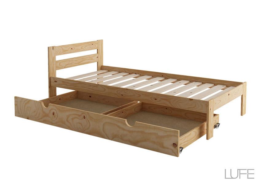 Cajones de madera ecol gica para camas con almacenaje o - Armario bajo cama ...
