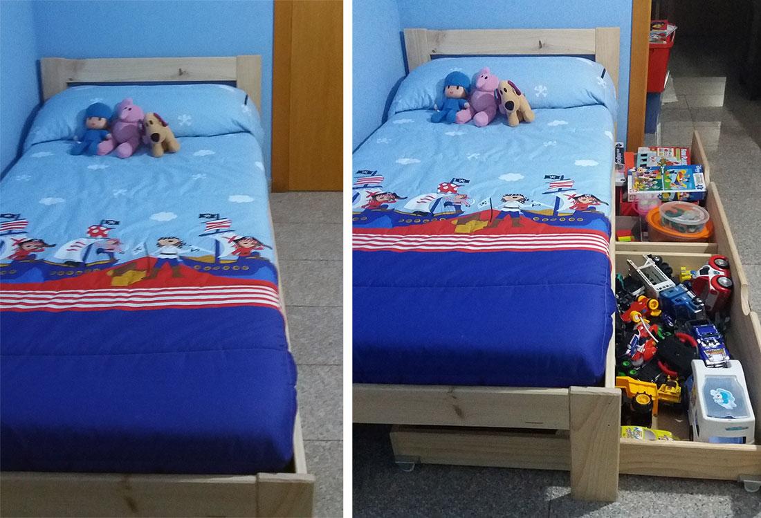 Cajones de madera ecol gica para camas con almacenaje o for Camas con cajones debajo