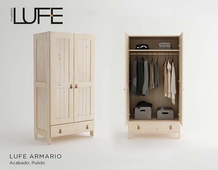 Armarios para ropa baratos de madera ecológica pulida | Muebles LUFE
