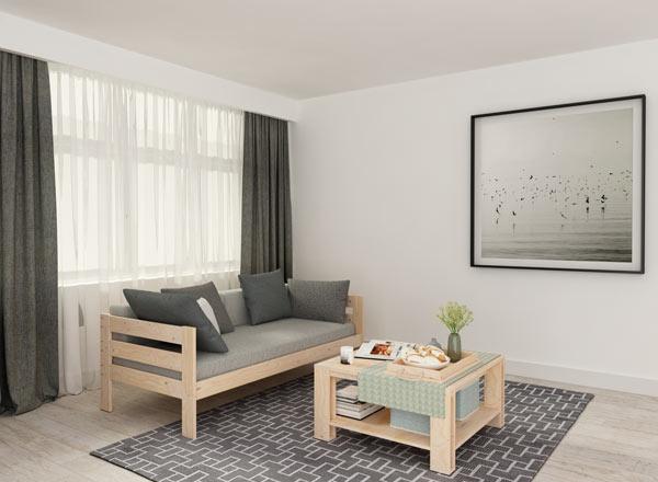 Combinación de mesa de centro de madera y sofá cama