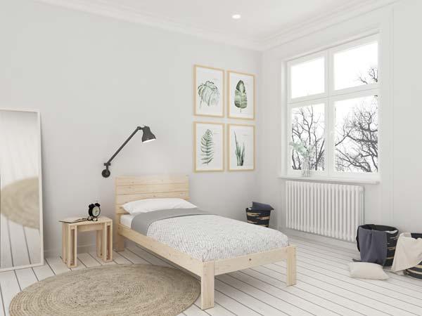 Habitación individual minimalista con estilo nórdico