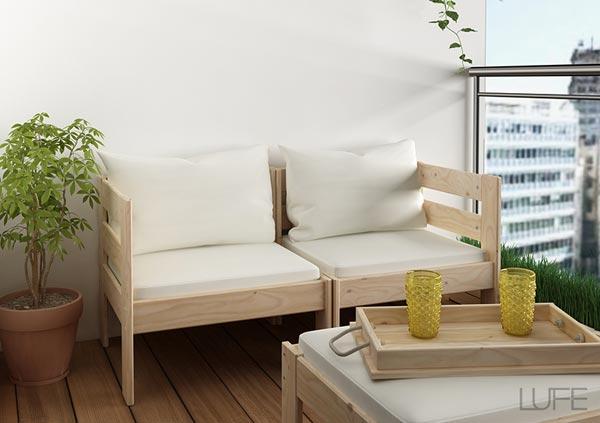 Sofá modular doble exterior de madera ecológica