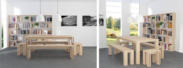 Conjunto de Mesas y banco de madera para el comedor o salón