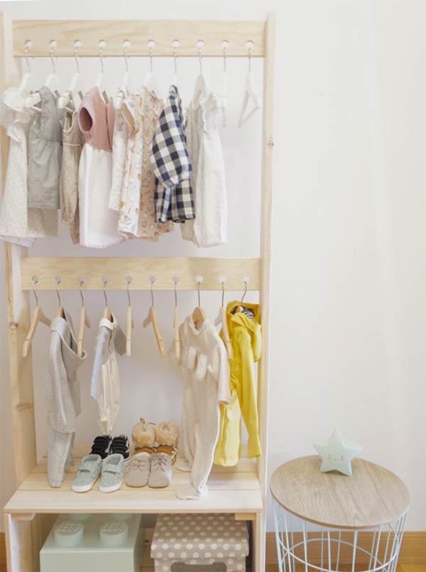 Percheros baratos de madera ecológica para habitación infantil