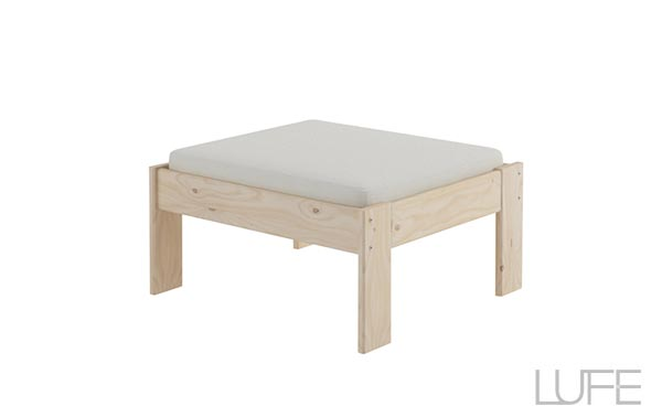 puf o sofá para jardín barato de madera ecológica