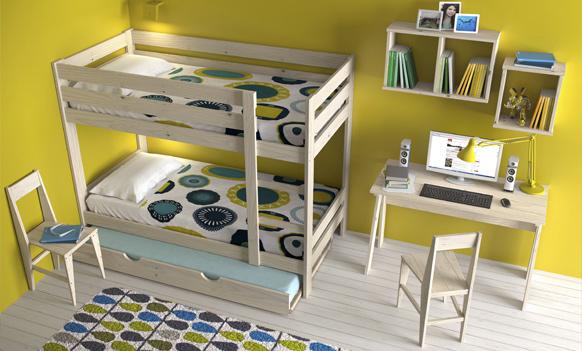 habitaciones juveniles baratas. Litera con cama nido, escritorio y sillas