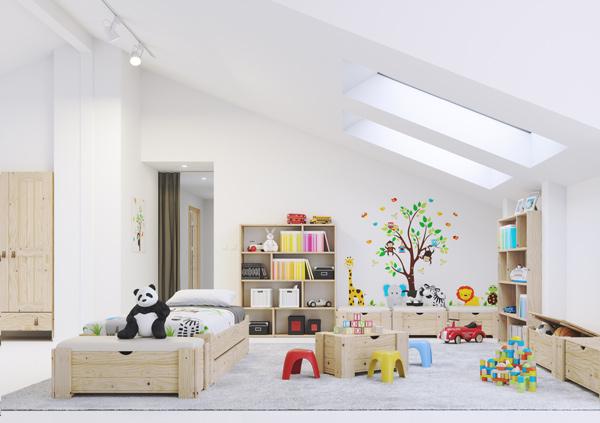 Baul de madera barato para almacenaje en habitacion infantil