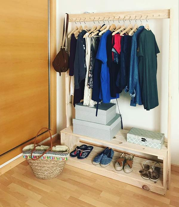 comprar perchero de madera de pie, pared o tipo burro barato y de madera ecológica