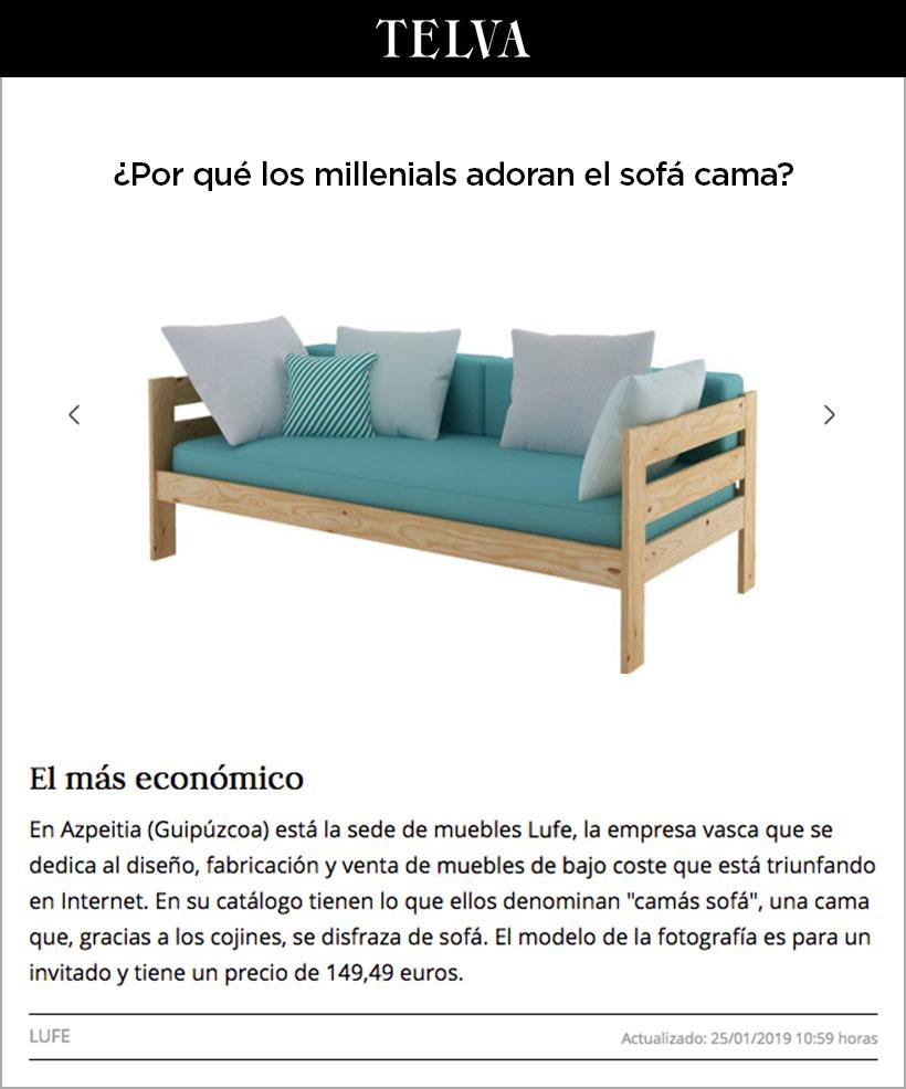 ¿Cúal es el sofa cama más barato?  TELVA elige a muebles LUFE