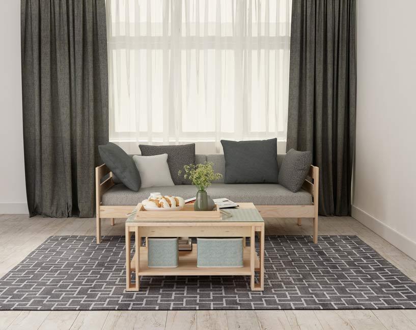 Sofá cama estilo nórdico y moderno con mesa de centro de salón