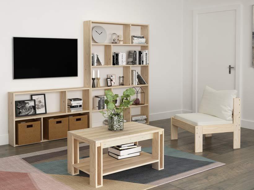 Estanterías modernas salón con mesa de centro y sofá modular