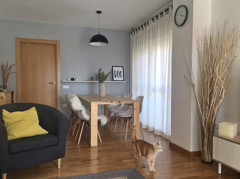 Mesa de comedor moderna y barata de madera para sala o salón