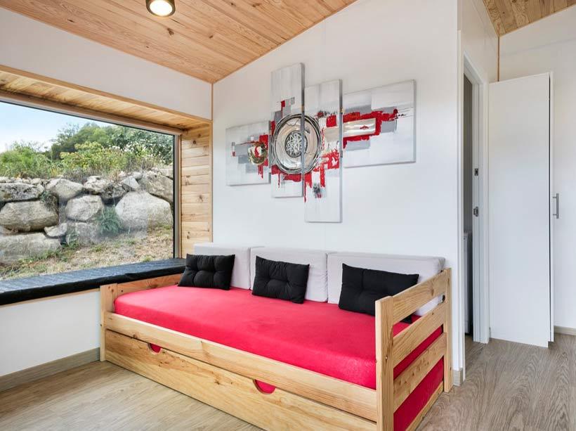 Sofá cama barata estilo Nórdico y moderno de madera ecológica
