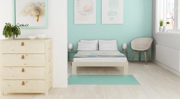 Habitación doble con cama de matrimonio y cómoda de Muebles LUFE